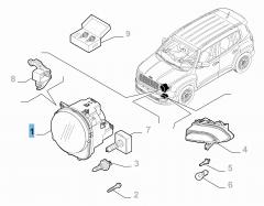 Faro delantero superior derecho para Jeep Renegade