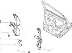 Elevalunas manual trasero derecho para Fiat y Fiat Professional