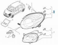 Faro delantero superior derecho para Fiat y Fiat Professional