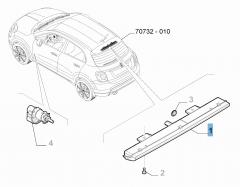 Luz de freno trasera en soporte rueda de repuesto para Fiat 500X