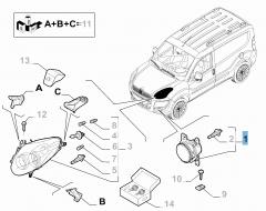 Luz antiniebla delantera derecha para Fiat y Fiat Professional