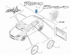 Sigla de modelo Bravo trasera para Fiat Bravo