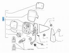 Espejo retrovisor exterior izquierdo eléctrico para Fiat Professional Scudo