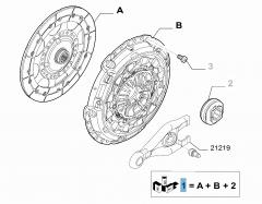 Kit embrague (plato, plato de presión y cojinete empuje axial) para Fiat Professional Scudo