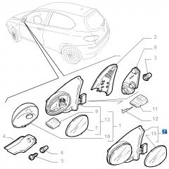 Espejo retrovisor exterior derecho para Alfa Romeo 147