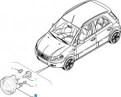 Luz antiniebla delantera derecha para Fiat Sedici